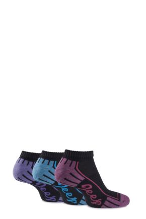 Ladies 3 Pair Jeep Cushioned Cotton Trainer Socks