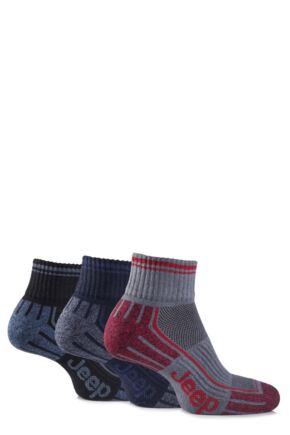 Mens 3 Pair Jeep Cushioned Cotton Ankle Socks