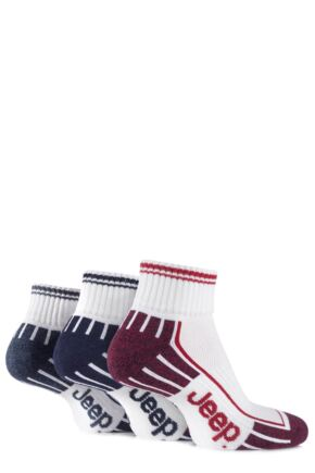 Mens 3 Pair Jeep Cushioned Cotton Ankle Socks White 6-11