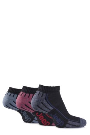 Mens 3 Pair Jeep Cushioned Cotton Trainer Socks Black 6-11