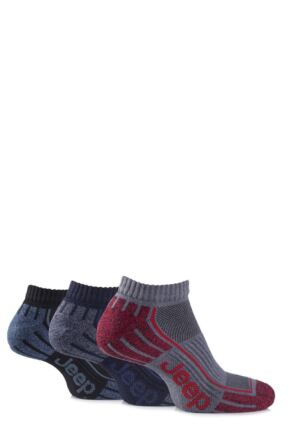 Mens 3 Pair Jeep Cushioned Cotton Trainer Socks Grey 6-11