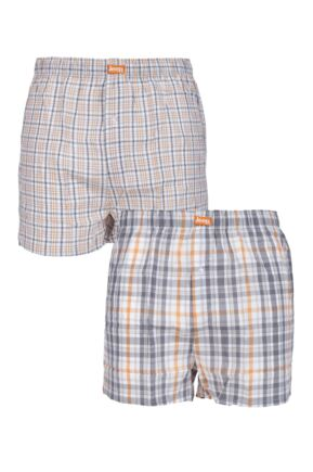 Mens 2 Pair Jeep 100% Cotton Woven Boxers Grey Extra Large