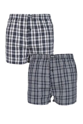 Mens 2 Pair Jeep 100% Cotton Woven Boxers