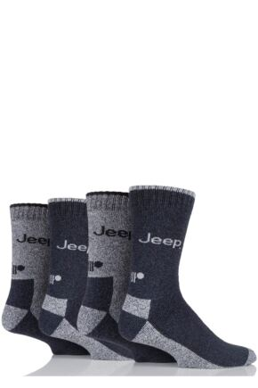 Mens 4 Pair Jeep Performance Boot Socks Charcoal 6-11