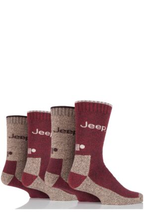 Mens 4 Pair Jeep Performance Boot Socks Red 6-11