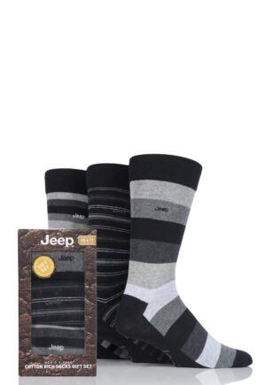 Mens 3 Pair Jeep Striped Cotton Socks in Gift Box Black 6-11 Mens