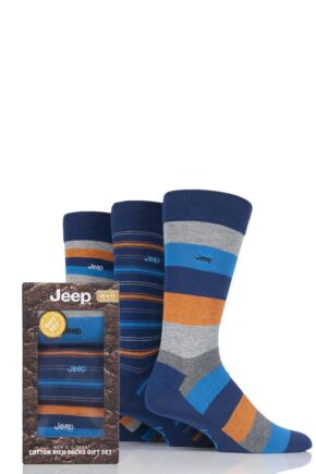 Mens 3 Pair Jeep Striped Cotton Socks in Gift Box Navy 6-11 Mens