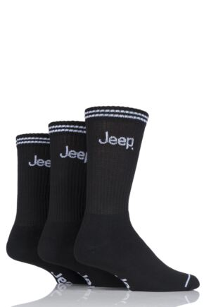 Mens 3 Pair Jeep Leisure Boot Socks Black 6-11 Mens