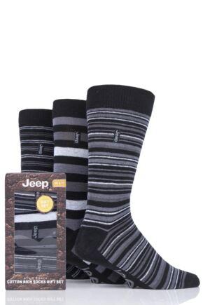 Mens 3 Pair Jeep Cotton Thick Stripe Gift Set Socks