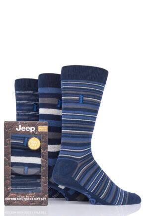 Mens 3 Pair Jeep Cotton Thick Stripe Gift Set Socks