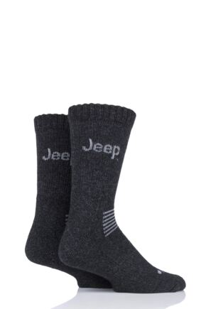 Mens 2 Pair Jeep Wool Mix Socks