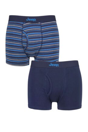 Mens 2 Pack Jeep Striped Cotton Rich Keyhole Trunks