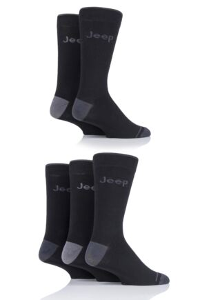 Mens 5 Pair Jeep Plain Socks