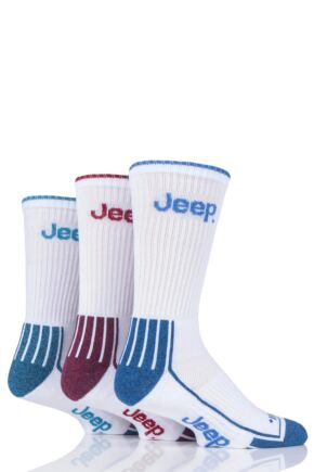 Mens 3 Pair Jeep Crew Sport Socks White 6-11 Mens