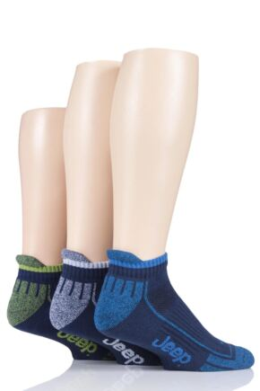 Mens 3 Pair Jeep Trainer Socks Navy 6-11 Mens