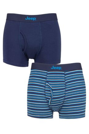 Mens 2 Pack Jeep Plain and Striped Cotton Keyhole Trunks