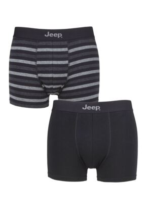 Mens 2 Pack Jeep Plain and Striped Fitted Trunks