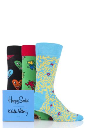 Mens and Ladies 3 Pair Happy Socks Keith Haring Socks in Gift Box