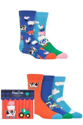Kids 5 Pair Happy Socks Farm Socks Gift Set Multi 4-6 Years