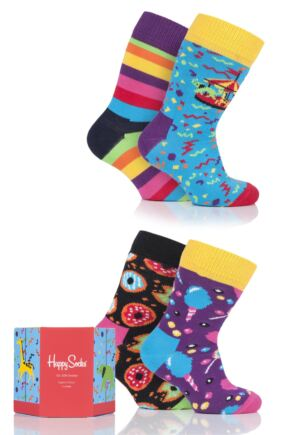 Babies and Kids 4 Pair Happy Socks Cotton Socks In Carousel Gift Box