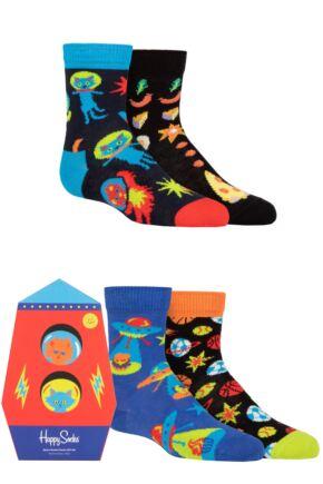 Kids 4 Pair Happy Socks Space Socks Gift Set