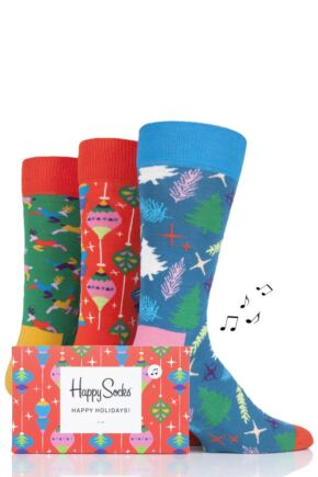 Mens and Ladies 3 Pair Happy Socks Christmas Socks in Musical Gift Box