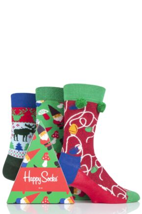 Mens and Ladies 3 Pair Happy Socks Christmas Socks in Gift Box