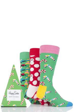 Mens and Ladies 3 Pair Happy Socks Happy Holidays Christmas Socks in Gift Box