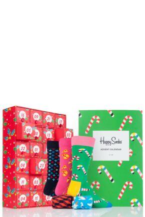 Mens and Ladies 24 Pair Happy Socks Christmas Advent Calendar