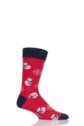 Mens 1 Pair Viyella Snowflake and Snowman Cotton Socks Red 6-11