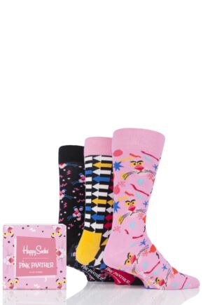 Mens and Ladies 3 Pair Happy Socks Pink Panther Cotton Gift Boxed Socks
