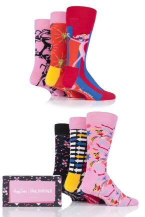 Mens and Ladies 6 Pair Happy Socks Pink Panther Cotton Gift Boxed Socks