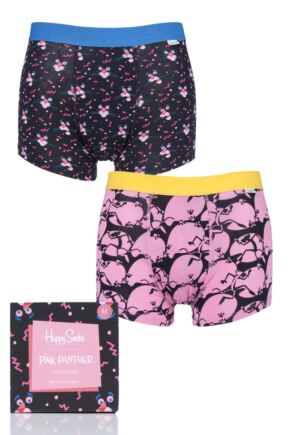 Mens 2 Pack Happy Socks Pink Panther Gift Boxed Trunks