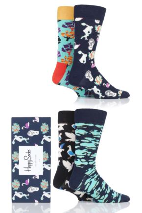 Mens and Ladies 4 Pair Happy Socks A Day In The Park Socks in Gift Box