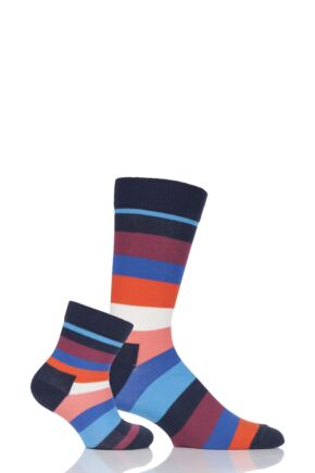 Parent and Baby 2 Pair Happy Socks Striped Matching Two Peas In A Pod Socks In Gift Box