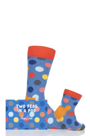 Parent and Baby 2 Pair Happy Socks Matching Two Peas in a Pod Big Dot Socks in Gift Box