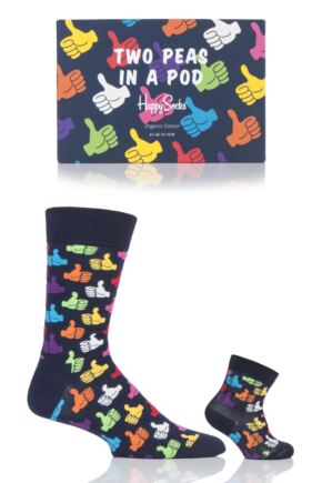 Parent and Baby 2 Pair Happy Socks Thumbs Up Matching Two Peas In A Pod Socks In Gift Box