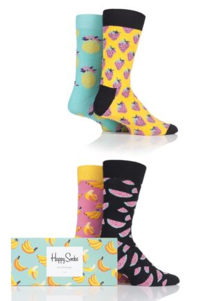 Mens and Ladies 4 Pair Happy Socks Fruit Design Socks in Gift Box