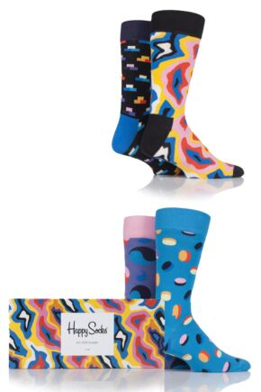 Mens and Ladies 4 Pair Happy Socks Pop Colours Combed Cotton Socks In Gift Box