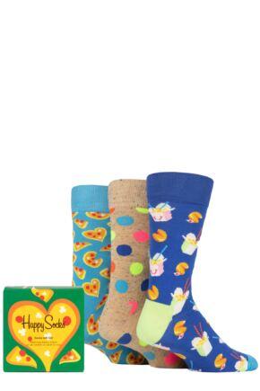 Happy Socks 3 Pair Pizza Love Gift Boxed Socks