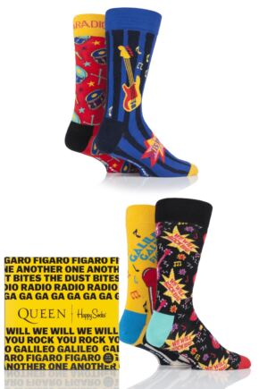 Happy Socks 4 Pair Queen 'We Will Sock You' Gift Boxed Socks