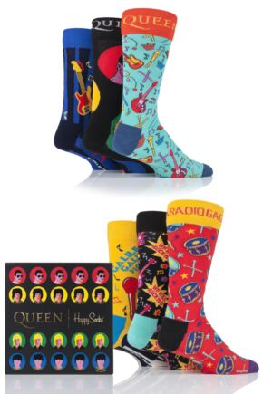Happy Socks 6 Pair Queen 'We Will Sock You' Gift Boxed Socks