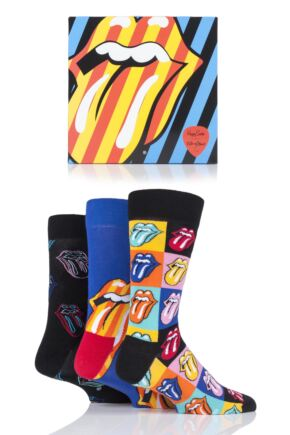 Mens and Ladies 3 Pair Happy Socks Rolling Stones Cotton Gift Boxed Socks