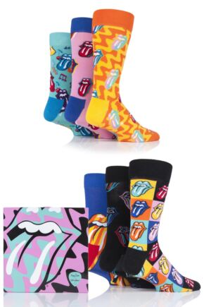 Mens and Ladies 6 Pair Happy Socks Rolling Stones Cotton Gift Boxed Socks