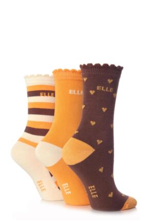 Girls 3 Pair Young Elle Brown Heart, Stripe and Plain Socks Brown 6-8