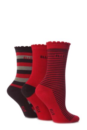 Girls 3 Pair Young Elle Retro Stripe and Plain Socks 50% OFF Retro 6-8
