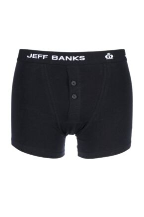 Mens Jeff Banks Leeds Buttoned* Cotton Boxer Shorts Black