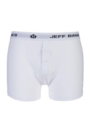Mens Jeff Banks Leeds Buttoned* Cotton Boxer Shorts White