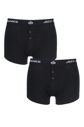 Mens 2 Pack Jeff Banks Plymouth Button Cotton Boxer Shorts Black L