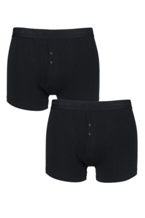 Mens 2 Pack Jeff Banks Plymouth Button Cotton Boxer Shorts Black S